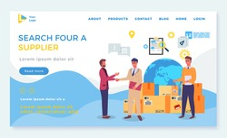 Search for supplier, landing page of business website, businessman shaking hand with partner, partnership, business meeting, successful deal or agreement between businessmen, worldwide delivery