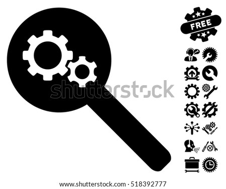Search Gears Tool icon with bonus service graphic icons. Vector illustration style is flat iconic black symbols on white background.