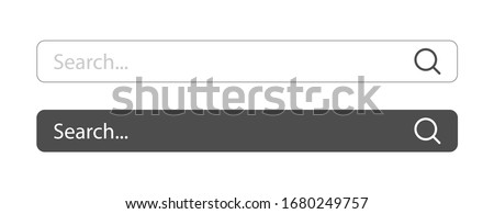 Search here. Search bar for ui. Search bar vector icons in flat design, isolated on white background. Vector illustration.