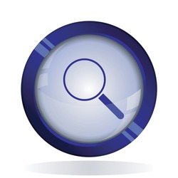 search icon. 3d round button blue vector icon for web, mobile app icon.