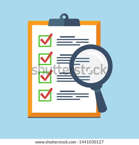 Search Icon on a report board, Audit review, Check List Icon. Vector flat design Stock foto ©