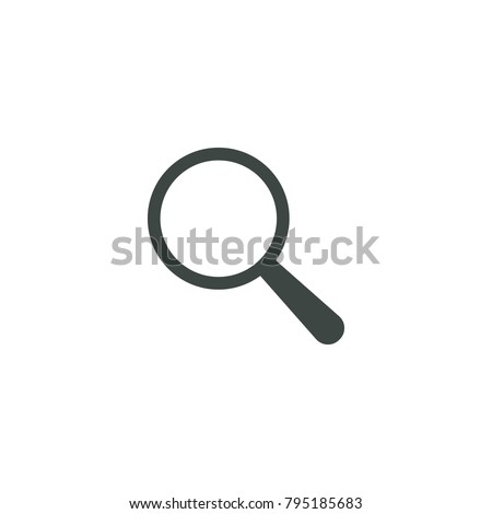 Search Icon Vector. Find icon single. Magnifying glass sign. Magnify, Zoom symbol. Magnifier illustration isolated. Optical Web tool. Exploration sign. Flat design. Focus, look, seek, lens
