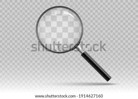 Search icon vector. Magnifying glass with Transparent Background. Magnifier, big tool instrument. Magnifier loupe search. Business Analysis symbol