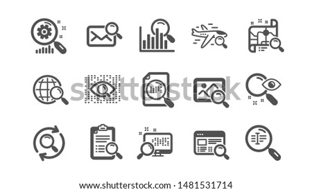 Search icons. Indexation, Artificial intelligence and Car rental. Search images classic icon set. Quality set. Vector