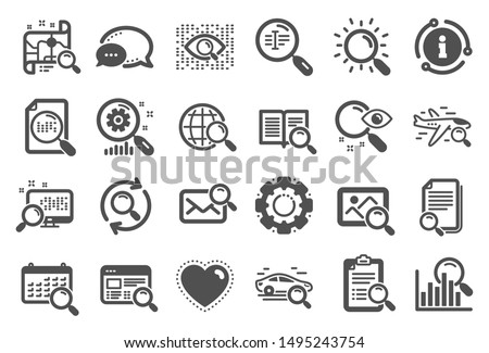Search icons. Photo indexation, Artificial intelligence, Car rental icons. Airplane flights, Web search engine, Analytics. Find photo, checklist document, artificial intelligence eye. Vector