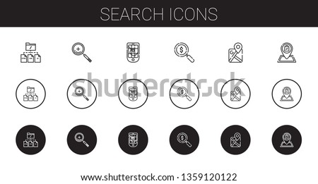 search icons set. Collection of search with file, zoom in, gps, loupe, google maps, shop. Editable and scalable search icons.
