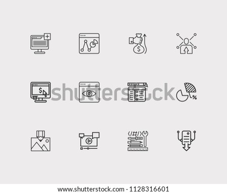 Search icons set. Market analysis and search icons with setup campaign, website tools and page view. Set of text for web app logo UI design.