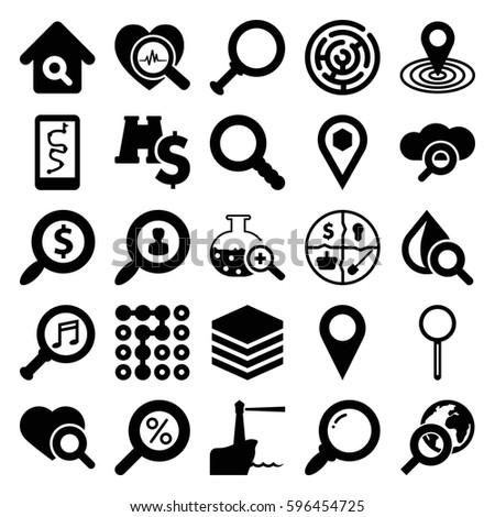 search icons set. Set of 25 search filled icons such as map location, drop under magnifier, location, magnifier, serach music, lighthouse, binoculars with dollar sign
