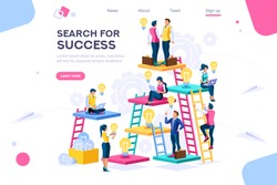 Search idea, little success advancement, achievement of goal. Path up stairs. Concept for web banner, infographics, hero images. Flat isometric vector illustration isolated on white background