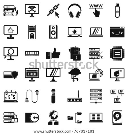 Search in internet icons set. Simple style of 36 search in internet vector icons for web isolated on white background