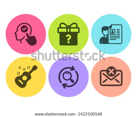 Search, Job interview and Guitar icons simple set. Secret gift, Select user and Reject mail signs. Find results, Cv file. Business set. Flat search icon. Circle button. Vector