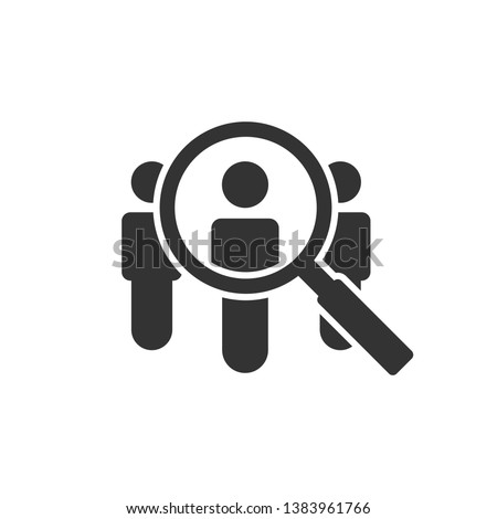 Search job vacancy icon in flat style. Loupe career vector illustration on white isolated background. Find people employer business concept.