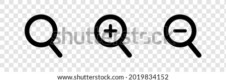 Search Line and Zoom in Icons. Magnifying Glass with Plus and Minus Icon For Mobile and Web Isolated on Transparent Background.