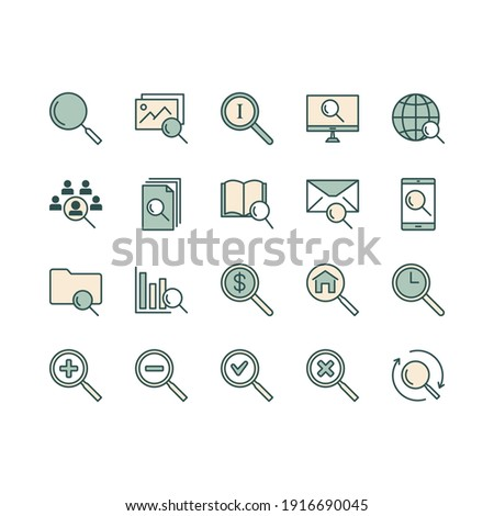 Search line icons. Set Magnifier search. Web search engine, Analytics. Find photo, checklist document.