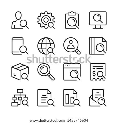 Search line icons set. Modern linear graphic design concepts, simple outline elements collection. Vector line icons