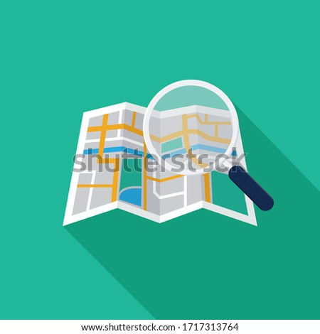 search location icon with paper