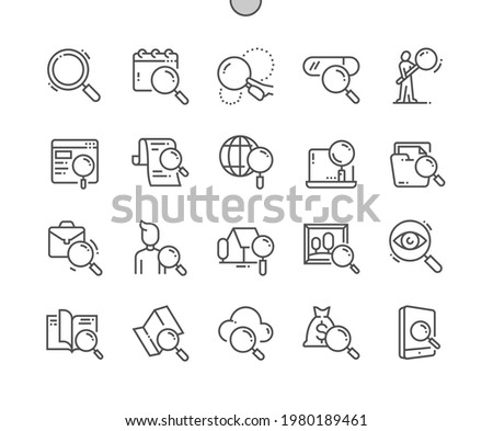 Search. Magnifier, exploration, magnifying, optimization, magnify. Real estate search. People search. Pixel Perfect Vector Thin Line Icons. Simple Minimal Pictogram