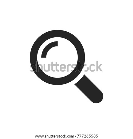 Search magnifier icon. Magnifying glass symbol. Zoom pictogram, flat vector sign isolated on white background. Simple vector illustration for graphic and web design.
