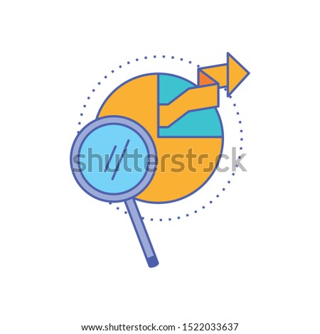 search magnifying glass with statistical graphics circular vector illustration design