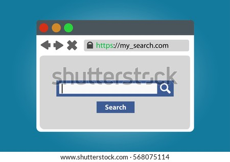 Search open in a browser window. Isolated on white background