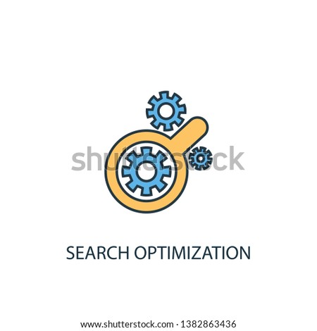 Search optimization concept 2 colored line icon. Simple yellow and blue element illustration. Search optimization concept outline symbol design