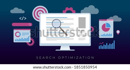 Search Optimization, SEO concept. A desktop pc with an open search page result (Serp) with sites ranked by relevance, around optimization, target, charts and graphs icons. Flat vector illustration