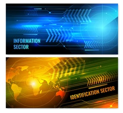 Search radar horizontal banners with glowing screen elements including information sector and world map isolated vector illustration