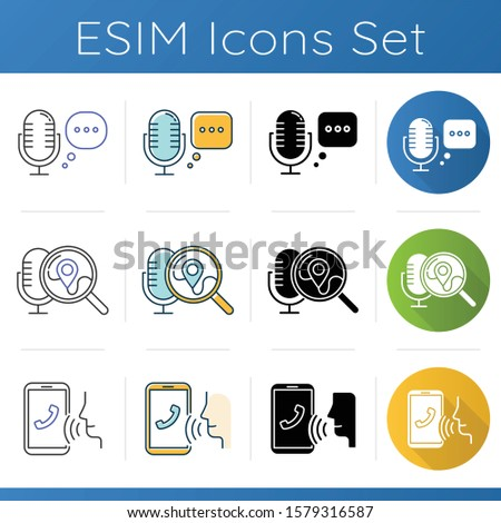 Search request icons set. Microphone using modes. Modern audio equipment. Audio control application. Music recording technology. Linear, black and color styles. Isolated vector illustrations