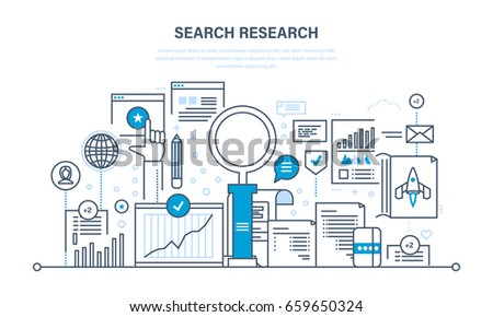 Search research and analysis, marketing, seo, optimization and promotion of site, growth of financial income and investments. Illustration thin line design of vector doodles, infographics elements.