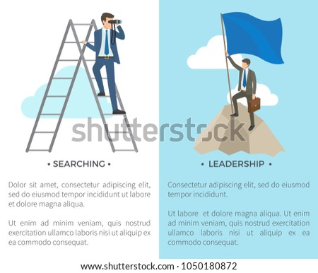 Searching and leadership, man standing on ladder and looking through binocular and person with flag on mountain on vector illustration