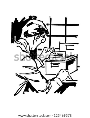 Searching Card Index File - Retro Clipart Illustration