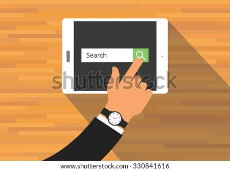 searching concept use tab or pad mobile platform