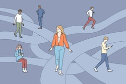 Searching for life path concept. Young people cartoon characters walking through different life routes with important key points in memory going in past by psychotherapy vector illustration