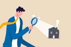 Searching for new house, look for real estate and accommodation valuation or new rent and mortgage concept, smart businessman using magnifying glass zooming to see house or residential details.