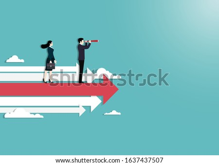 Searching for opportunities. Business couple standing on arrows, Symbol of success, Vision, Growth, Leadership, Achievement, Eps10 vector illustration