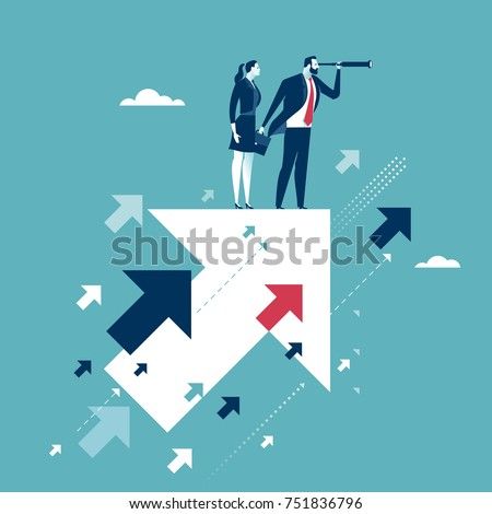 Searching for opportunities. Business couple standing on flying arrows. Concept business illustration