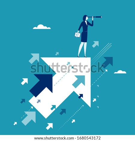 Searching for opportunities. Businesswoman stands on flying arrow. Concept business illustration