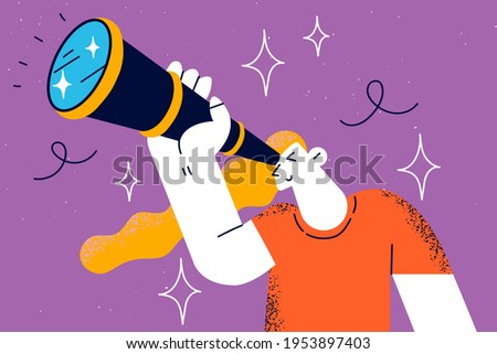 Searching for somebody, research concept. Young curious woman holding binoculars in hand and looking far away, expecting and searching someone vector illustration