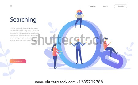 Searching, Human Resources, Recruitment Concept for web page, banner, presentation, social media, documents, cards, posters. Vector illustration HR, SEO, Magnifying glass sign
