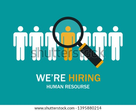 Searching job. Business concept. Search magnifying glass. Profession resume. EPS 10