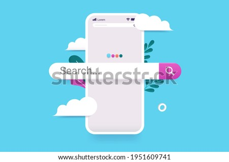 Searching on internet with smartphone -  Mobile phone with search bar popping out. Beautiful 3d vector illustration with clouds and light blue background.