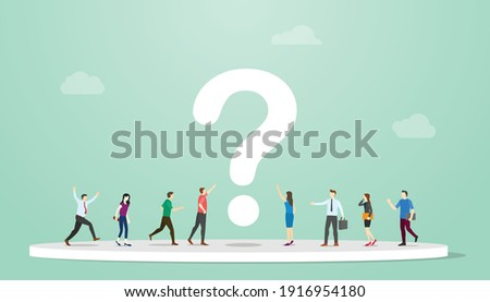 searching or search for answers concept with people and question mark around with modern flat style Foto stock ©