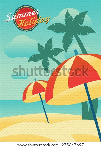 seascape and beach umbrellas - Shutterstock ID 275647697