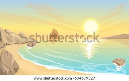 seascape bay sunset
