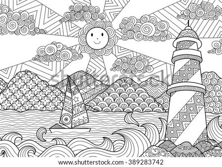 Shutterstock Seascape line art design for coloring book for adult, anti stress coloring - stock vector