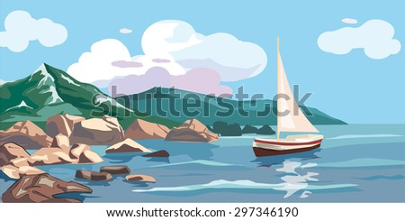 seascape  mountains  sea  rocks