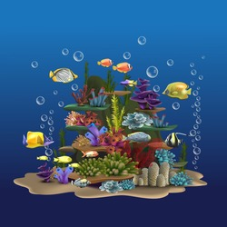 Seascape rocks and plants. Underwater view with sand and seaweed, fish floating near the bottom of the ocean. Aquatic image wildlife vector illustration