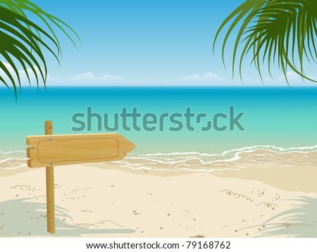 Seascape scene with wooden arrow billboard. Vector