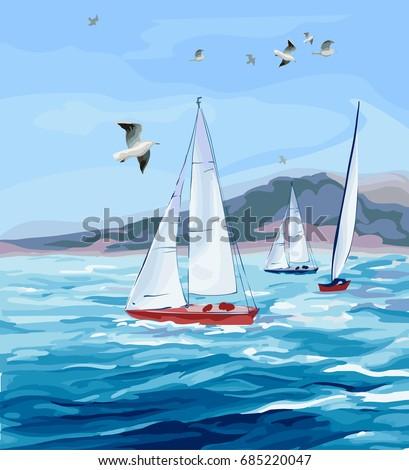 seascape sea  yachts