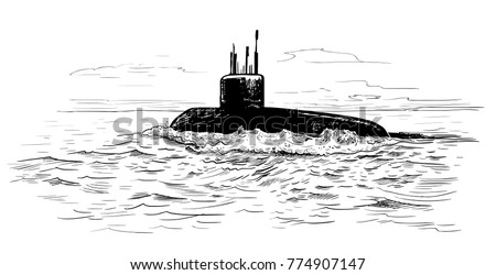 seascape with a submarine a